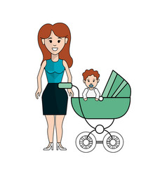 Woman with long and her baby icon vector
