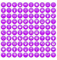 100 joy icons set purple vector