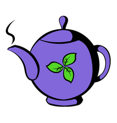 teapot with tea icon icon cartoon vector image