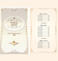 Royal menu for restaurant or cafe with price list vector