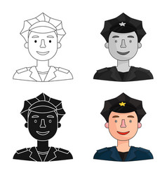 Policeman icon in cartoon style isolated on white vector