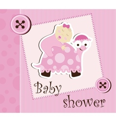 Baby shower - girl sleep on a turtle vector image