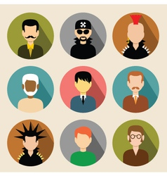 Set of circle flat icons with men vector