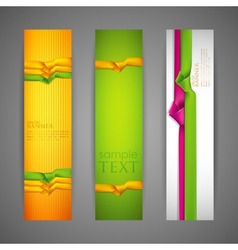 Set of banners with multicolored ribbons vector