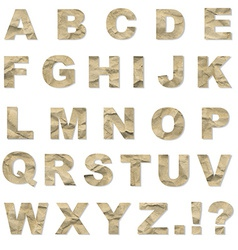 Alphabet from crushed paper vector