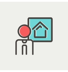 Real estate agent speech thin line icon vector