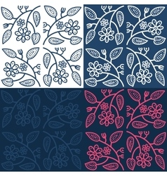 Hand drawn seamless folk pattern with leaves and vector