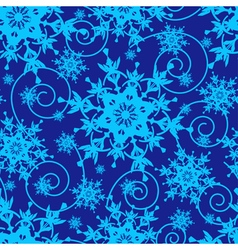 Winter blue seamless pattern with snowflakes vector