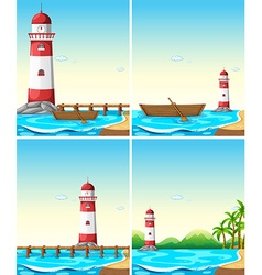 Set of lighthouse from different angle vector image