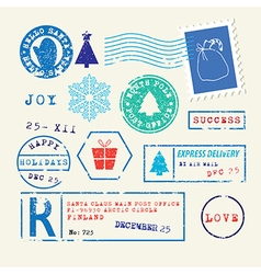 Christmas stamps set vector