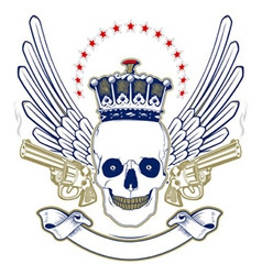 crown skull wing emblem with smoke guns vector image