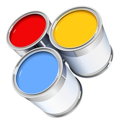 Three metal bright cans with colorful paint vector