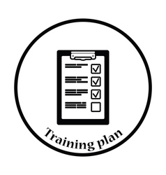 Training plan tablet icon vector