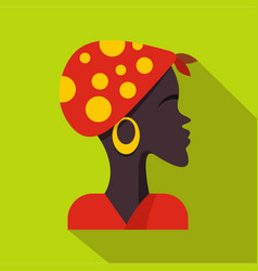 african woman icon flat style vector image