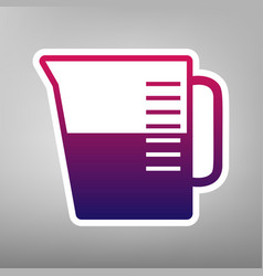 Beaker sign purple gradient icon on white vector