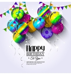 Birthday card with colorful balloons and bunting vector