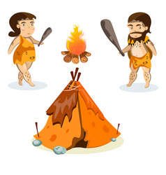 cavemen in stone age weapon tool and ancient vector image