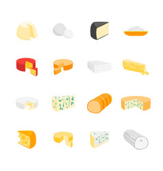 Cheese product dairy set vector