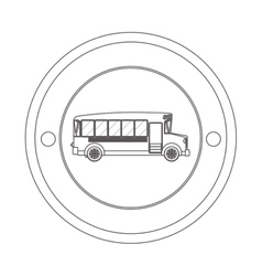 Circular contour of silhouette with school bus vector