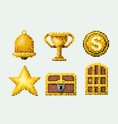 Color pixelated set of golden elements arcade game vector
