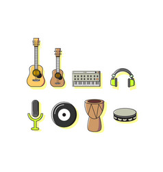 Colorful music instruments icon sets vector
