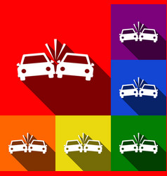 Crashed cars sign set of icons with flat vector