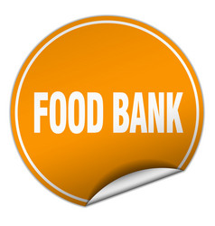 Food bank round orange sticker isolated on white vector