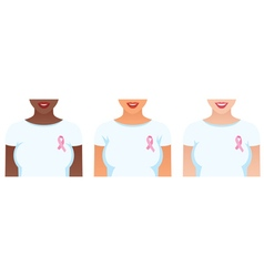 Girls with pink ribbons on their shirts vector image vector image