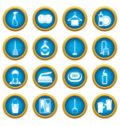 house cleaning icons blue circle set vector image
