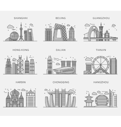 Icons chinese major cities flat style vector