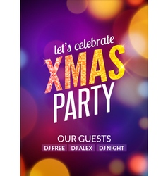 Lets celebrate XMAS party design flyer template vector image vector image