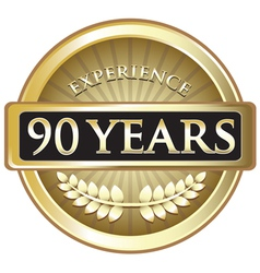 Ninety years experience gold vector