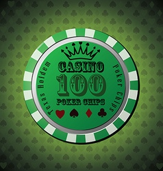 Poker chip 100 on green background vector image