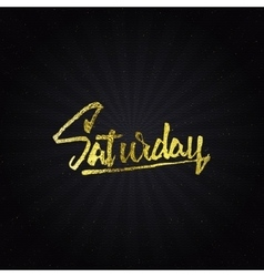 Saturday - Calligraphic phrase written in gold vector image