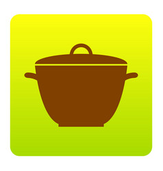 saucepan simple sign brown icon at green vector image