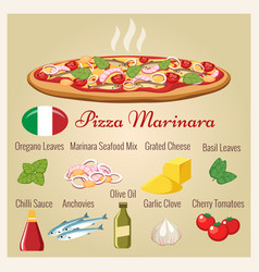 seafood pizza with ingredients vector image