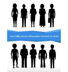 set of 10 cartoon silhouettes on white vector image vector image