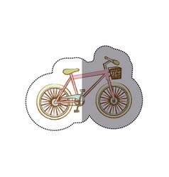 Sticker silhouette of bike of girl with basket vector