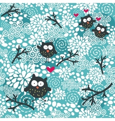Winter seamless pattern with owls and snow vector