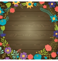 Wood texture background with various flowers vector