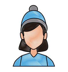 Young woman with winter hat cartoon vector