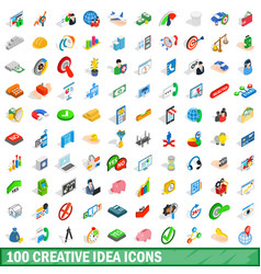 100 creative idea icons set isometric 3d style vector image