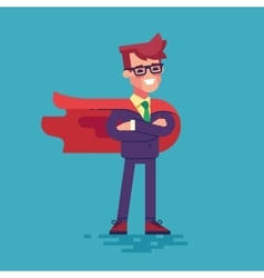 Confident businessman in suit superhero vector