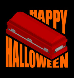 Happy halloween coffin and typography for vector