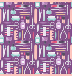 manicure instruments set cartoon style vector image