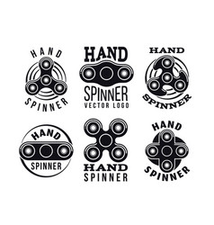 Hand spinner logo and labels fidget vector