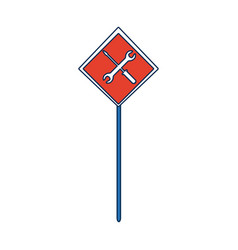 Sign traffic road with tool construction vector