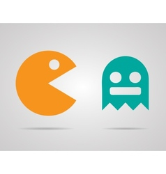 Pacman ghosts 8bit retro color game icons set  eps vector