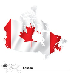 Map of canada with flag vector