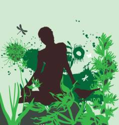 The girl in the garden vector